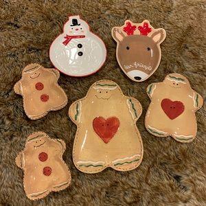 6 Christmas Gingerbread Deer Snowman Plates Lot